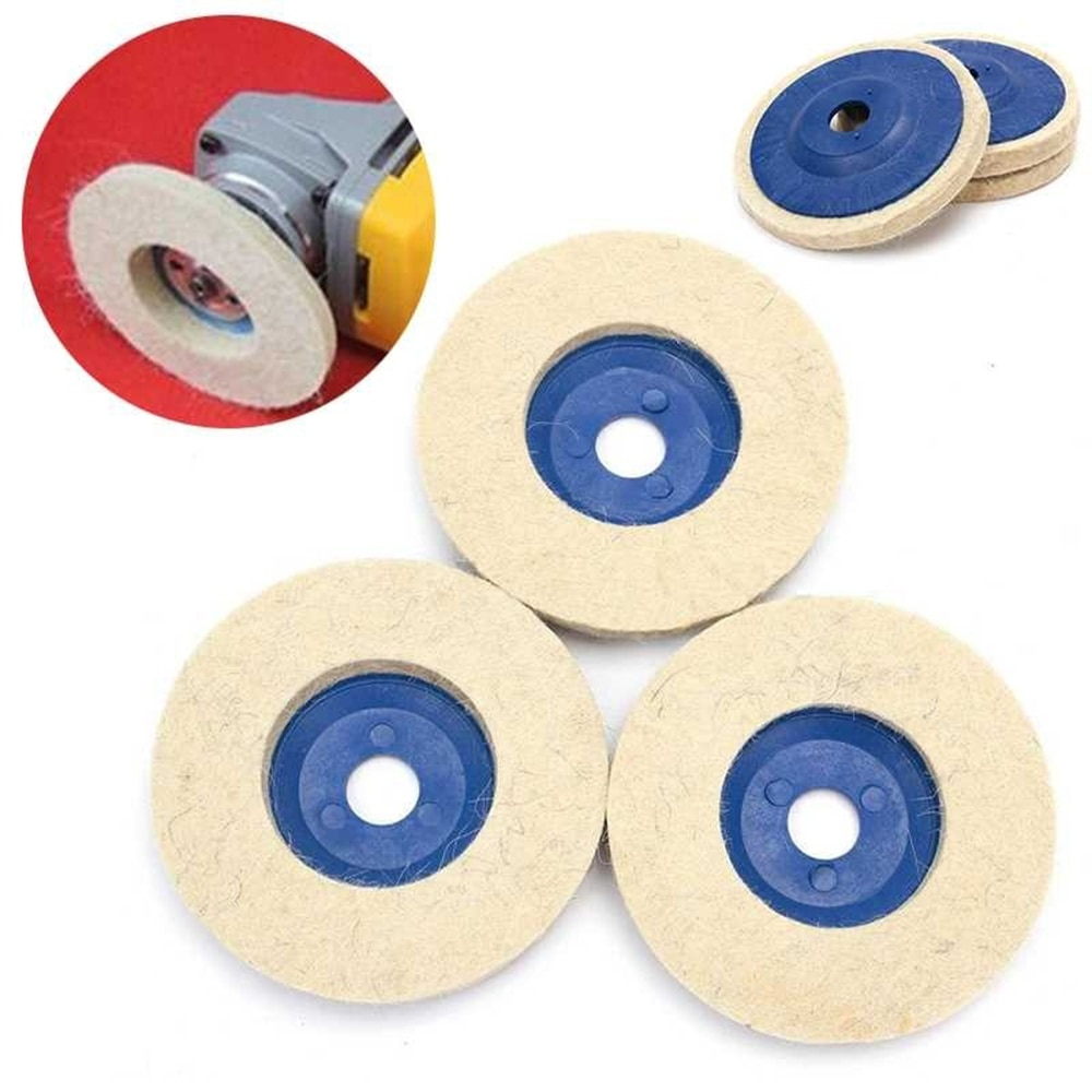 1pc 4 pollici 100mm tamponi per lucidatura in lana per lucidatura a ruota, disco per lucidatura in feltro per smerigliatrice angolare per metallo, marmo, vetro e ceramica