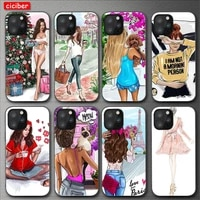 fashion travel girl case for iphone 11 12 pro max mini cover for iphone 7 8 6 s plus x xr xs max 5s se 2020 soft tpu phone funda