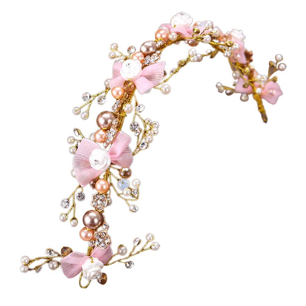 Diademas de novia con lazo rosa, diadema de perlas de cristal con...