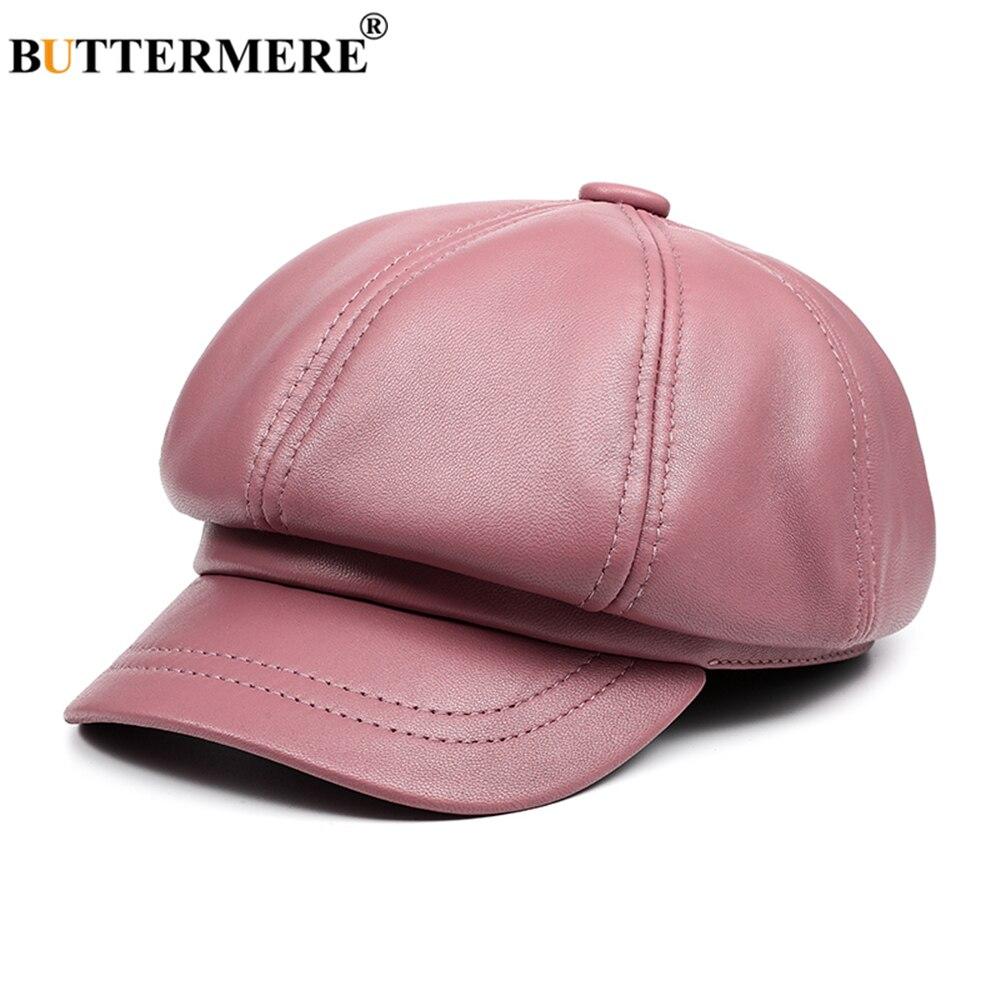 BUTTERMERE Echtem Leder Vintage Hut Frauen Zeitungsjunge Mütze Rosa Bäcker Junge Kappe Hohe Qualität Marke Damen Winter Achteckige Kappe
