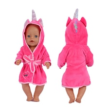 18 Inch Doll Clothes Unicorn Bathrobe Suit 43 Cm Doll Clothes Born Baby Fit American Girl Doll Acces