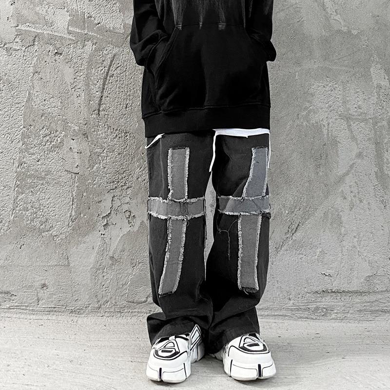 Уличная одежда Eukaaru, мужские мешковатые джинсы с перекрестной резинкой на талии, джинсы, мужская повседневная одежда, свободные широкие брю...