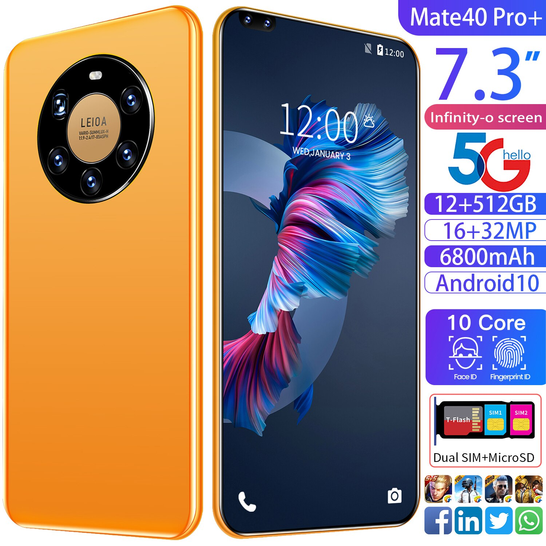 Mete40 Pro-teléfono inteligente 5G de 7,3 pulgadas, 12 + 512GB, gran memoria, Tarjeta Sim Dual, Bluetooth, cámara HD, Android 10,0, diez núcleos