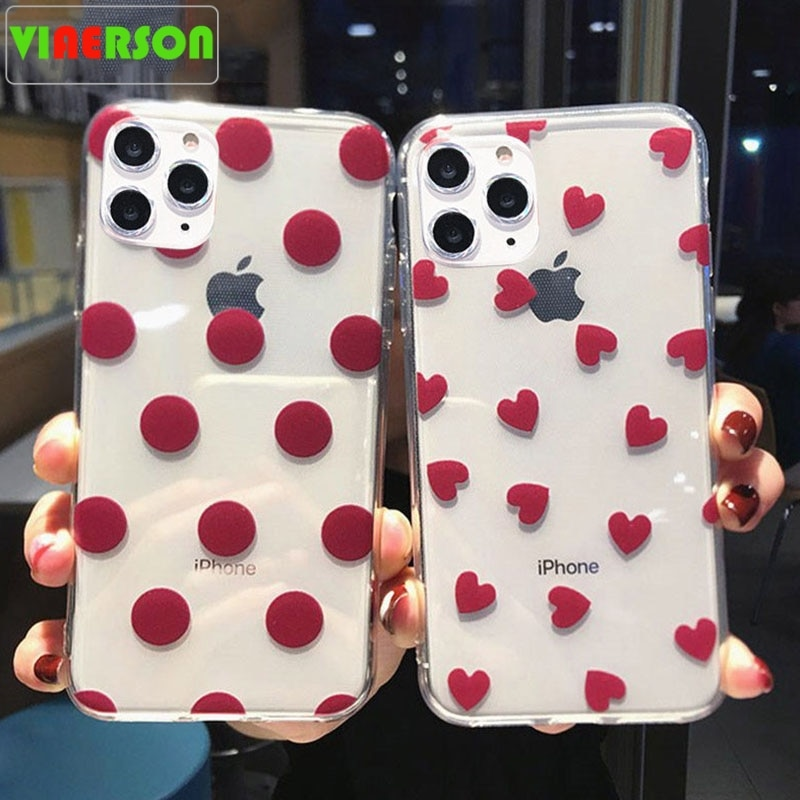 De vino transparente rojo teléfono casos para iphone 11 Pro XS Max XR 8X8 7 6 6S Plus 5S SE Polka Dot amor corazón cubierta