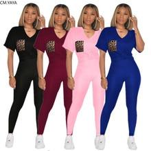 CM.YAYA imprimé léopard poche femmes ensemble deux pièces ensemble survêtement col en v t-shirt hauts crayon survêtement pantalon de survêtement costume ensemble assorti