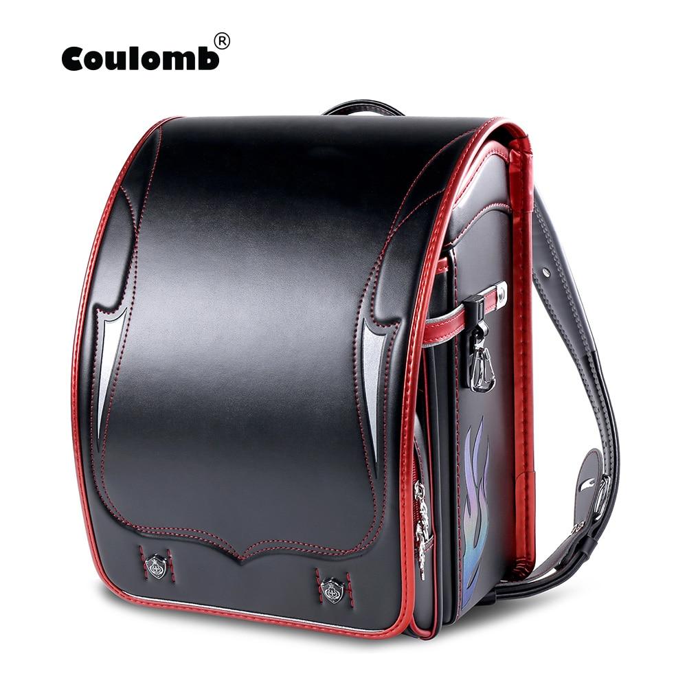Трендовый рюкзак Coulomb Randoseru для мальчиков, детский Японский Школьный ранец из искусственной кожи, японский ортопедический портфель для книг...