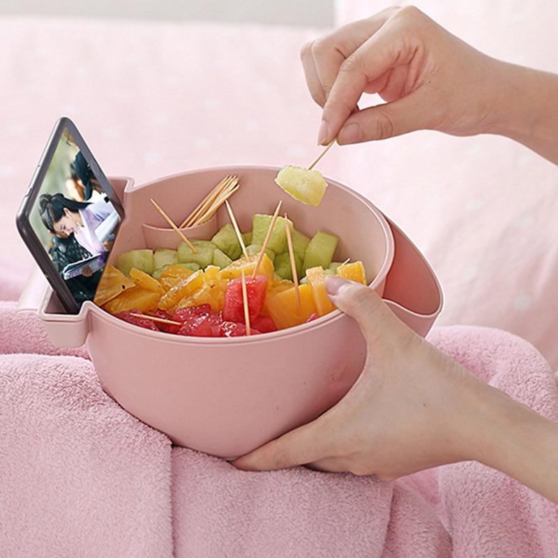 Doble capa caja almacenamiento snacks perezoso tuerca fruta placa con soporte de teléfono SLC88