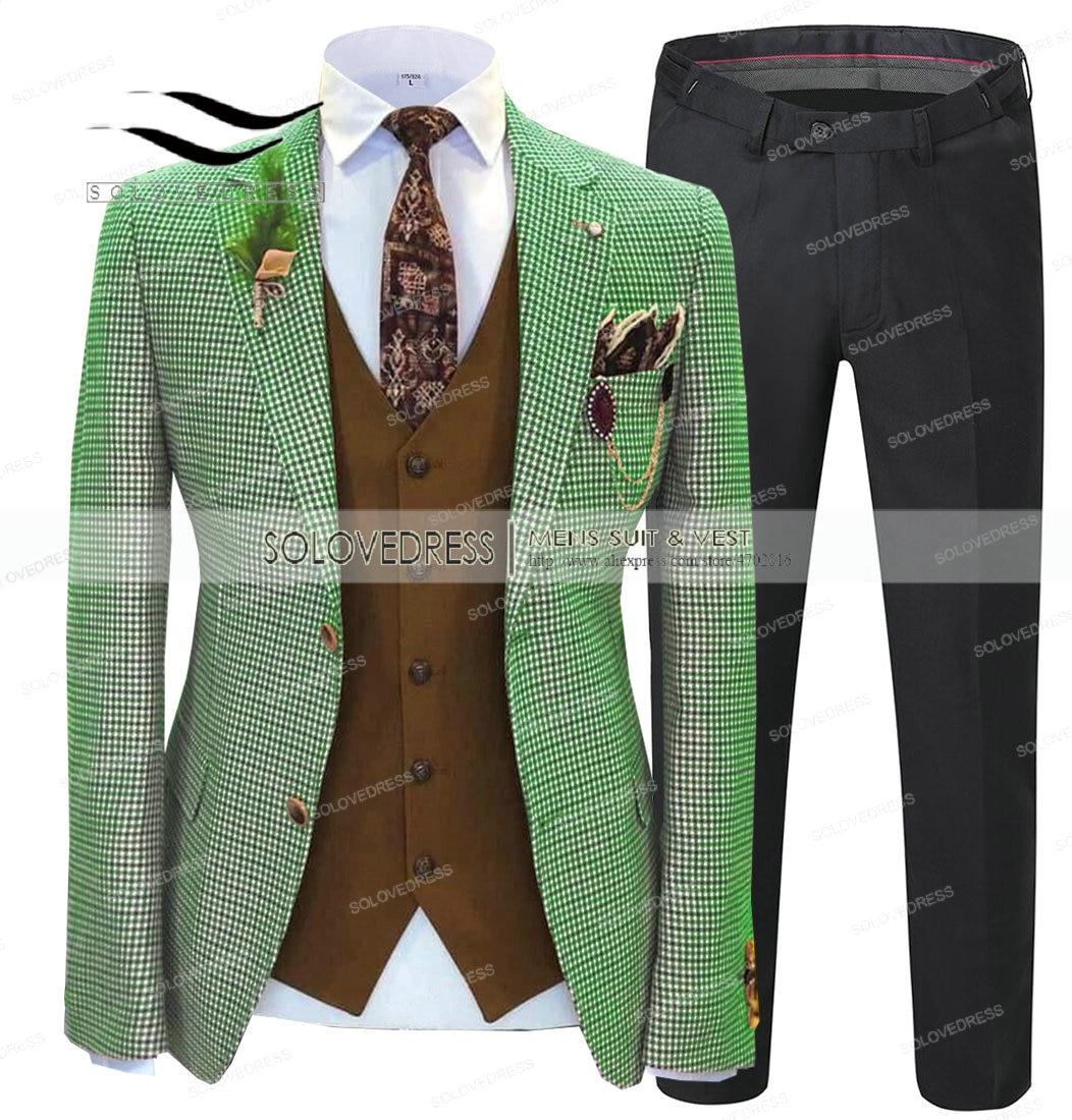 Terno masculino verde formal 2 peças fino ajuste xale lapela xadrez de lã macia tweed formatura cinza smoking padrinhos de casamento (blazer + calças)