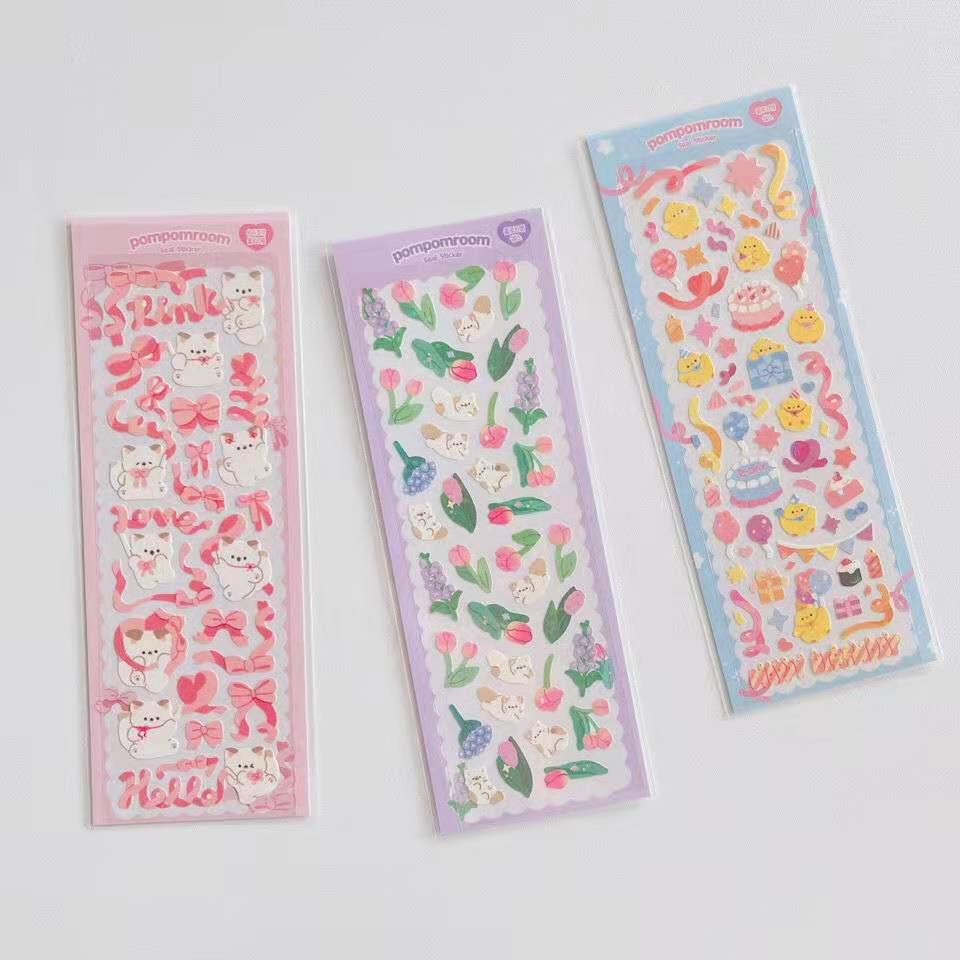 coreano-kawaii-gatito-laser-calcomania-luminosa-diy-scrapbook-idolo-tarjeta-album-papeleria-pegatinas-decorativas