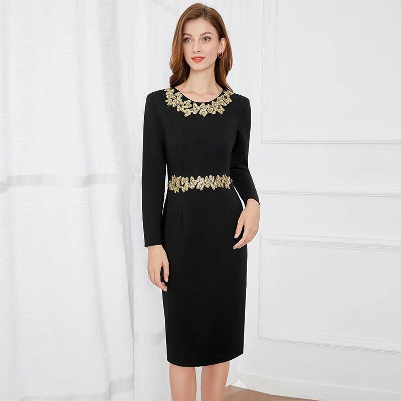 MIUXIMAO 2021 جديد الخريف المرأة الملابس س الرقبة يزين طويلة الأكمام ضئيلة الخصر فستان أنيق موضة مكتب نمط