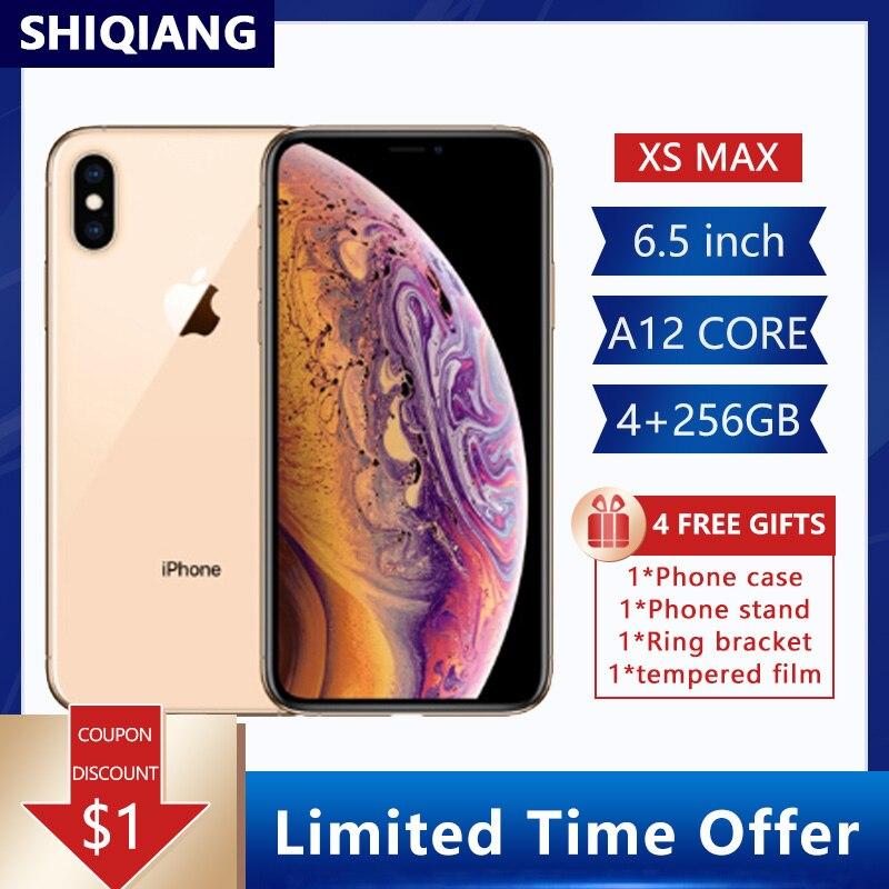 Перейти на Алиэкспресс и купить Оригинальные разблокированные сотовые телефоны Apple iphone XS MAX 4G LTE 4G RAM 64 Гб/256 ГБ ROM IOS A12 Bionic Chip 12.0MP большой экран смартфон