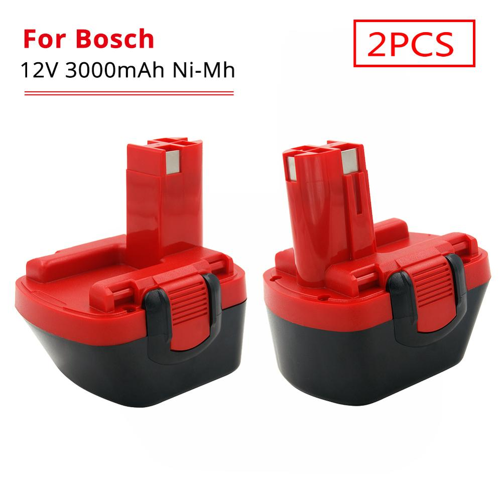 2PCS 3000mAh Ni-MH 12V Replacement Rechargeable Battery for Bosch Battery BAT043 BAT045 BAT049 BAT139 BAT120 GSR 12 VE-2 PSR 12