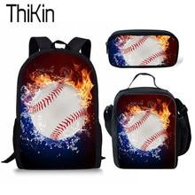 THIKIN 3D Fire Baseball Printing School Bag for Teen Boys Kids Student Backpack Orthopedic Sets with Lunch Bag Children Rucksack