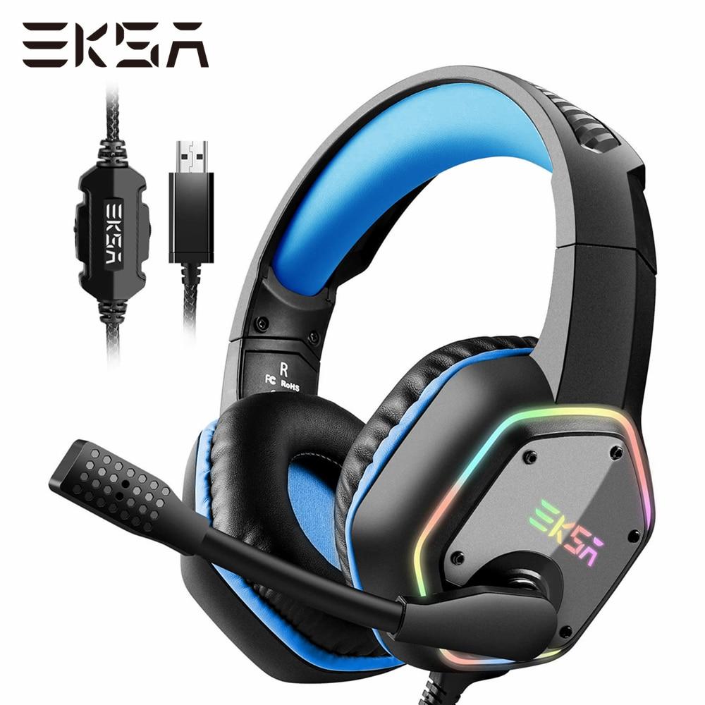 EKSA Virtual 7,1 Surround Gaming Headset Gamer E1000 auriculares con cable USB con micrófono de luz RGB para PS4/PC/ordenador portátil
