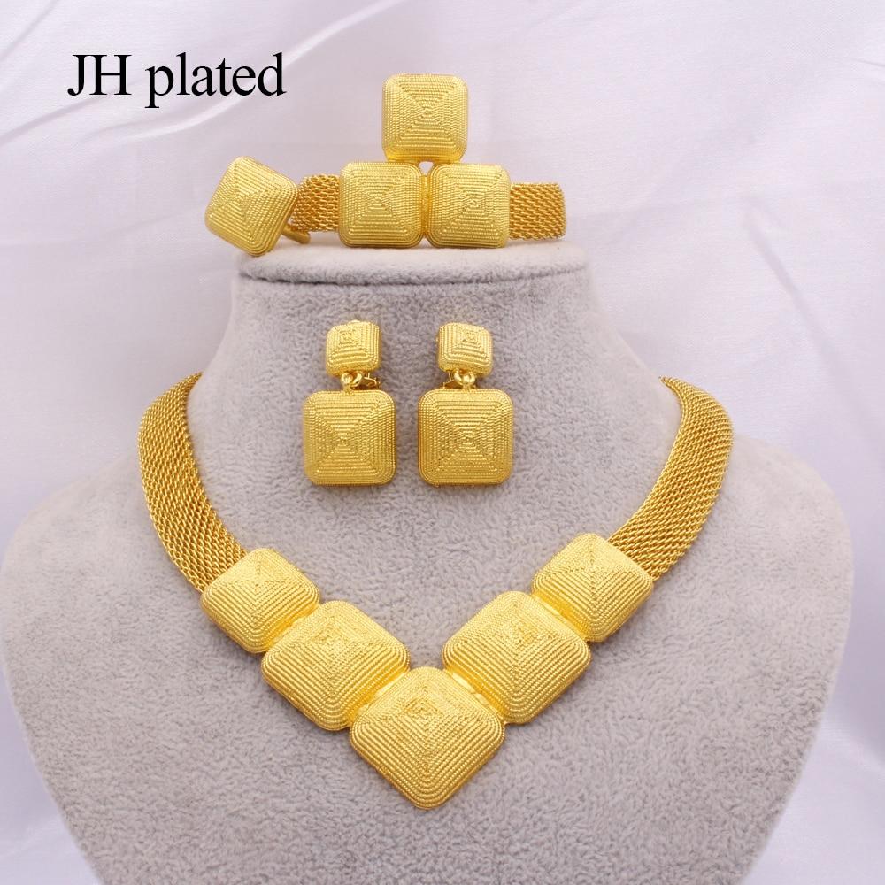 Conjuntos de jóias africano 24k ouro para as mulheres dubai presentes de casamento nupcial festa colar pulseira brincos anel conjunto colares jóias