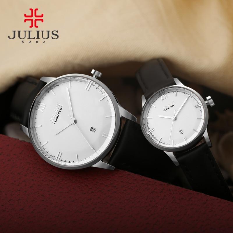 Julius Fashion Japan Quartz Movt Stainless Steel Screw Back Case Leather Strap Auto Date Simple Classic Watch Women 2017 JAL-030 enlarge