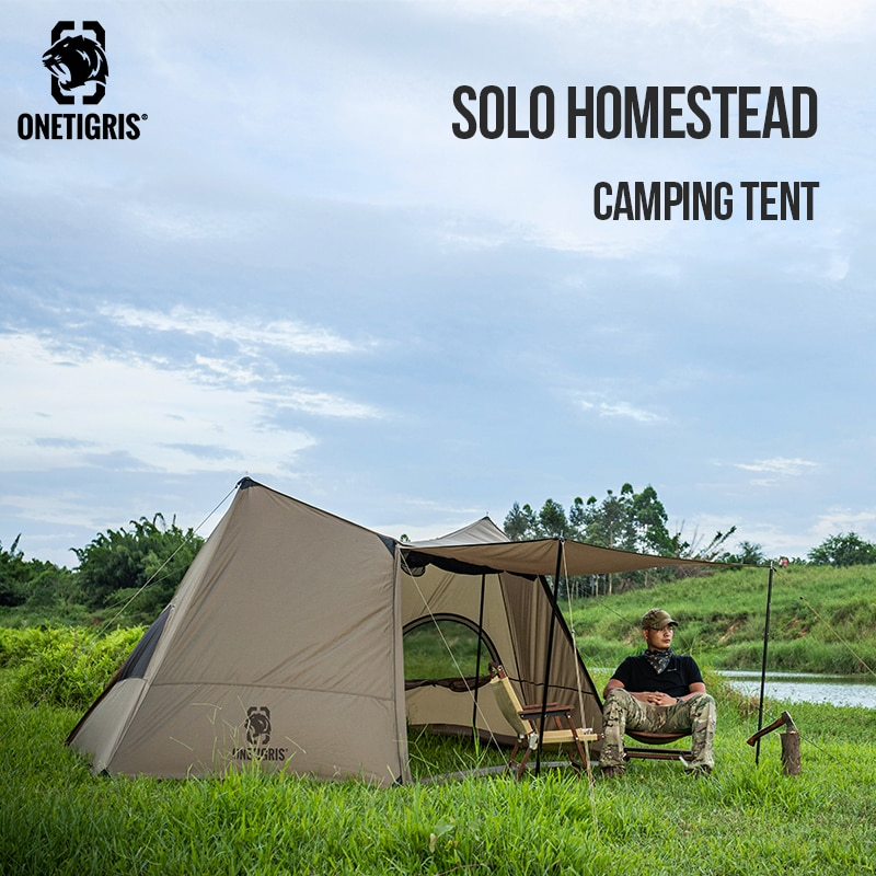 OneTigris سولو المنزل التخييم خيمة واحدة المأوى مع أعمدة خيمة ل bushcraft و الناجين الصيد التنزه
