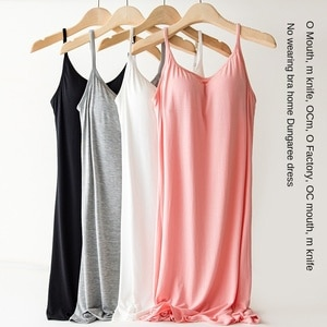 Women's plus Size Bra-Free One-Piece Vest with Chest Pad Slip Nightdress tank top women  women tops  halter top  bustier top