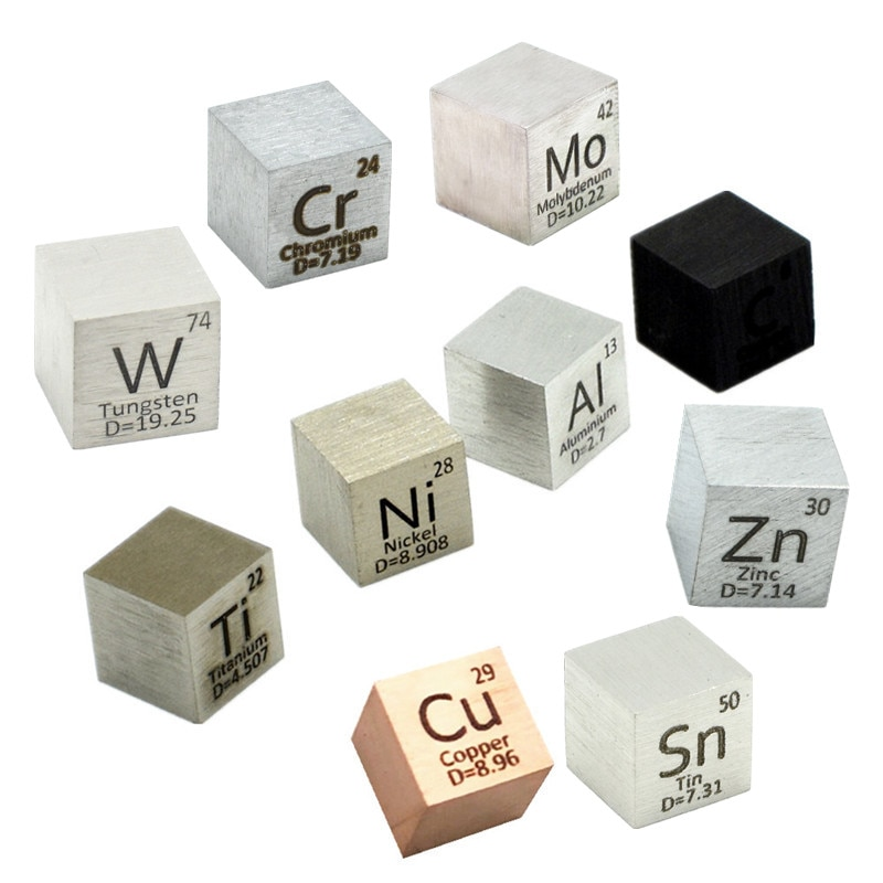 Element Distillation Cube Density Daily Metal 10mm Collection Copper Cobalt Nickel Copper Zinc Tin Carbon Tungsten Hobby Display