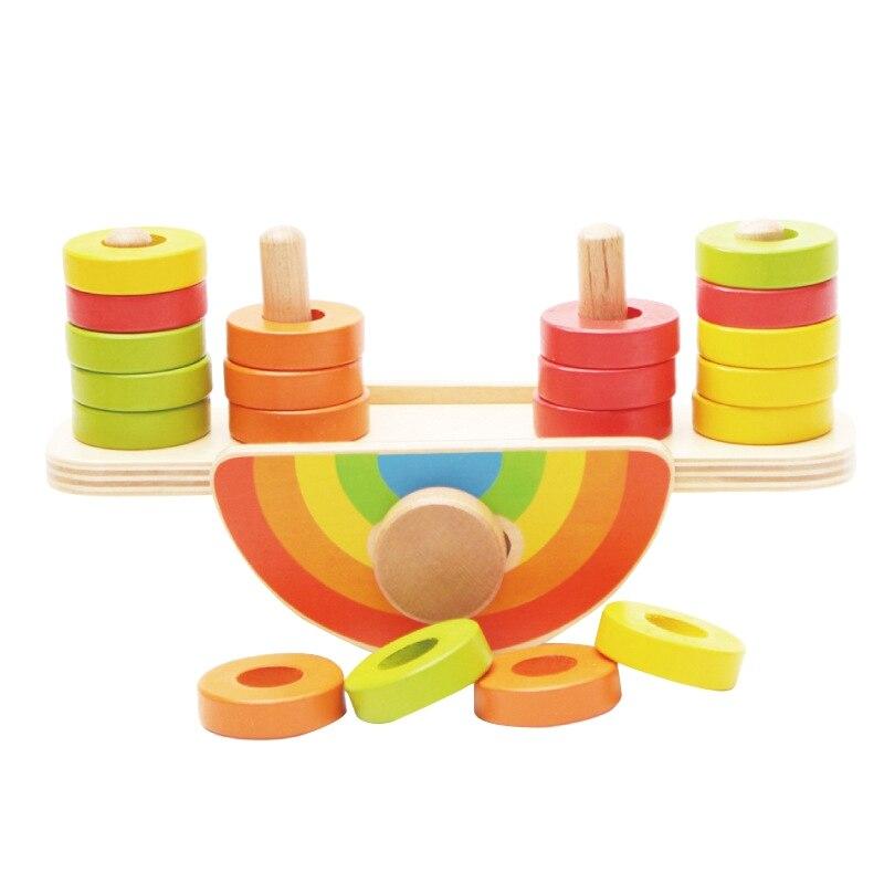 Juguetes de madera para bebés juego de equilibrio arcoíris regalos de juguetes de bebés educativos para bebés