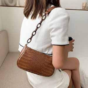 New PU Leather Shoulder Bags Women Underarm Bag Retro Solid Color Ladies Handbags Fashion Design Girls Small Square Bag