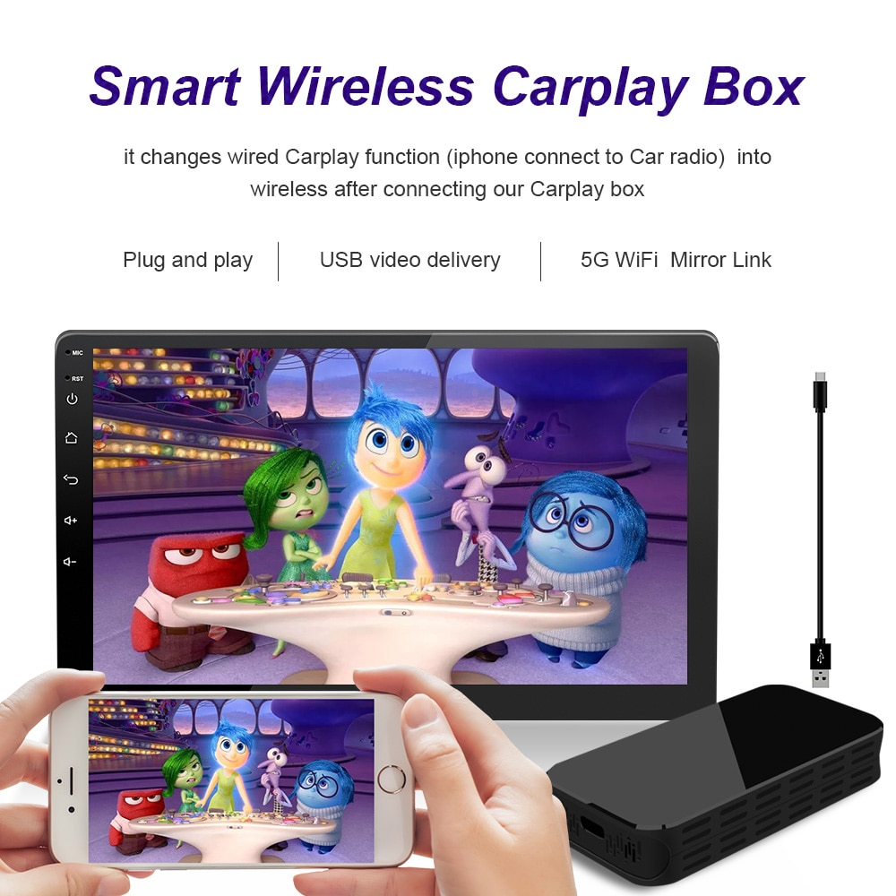 Review 5G Carplay Wireless Box With Mirror Projection Auto Connect Support Any Iphone IOS Version Media BoxFor Audi VW Ford Hyundai