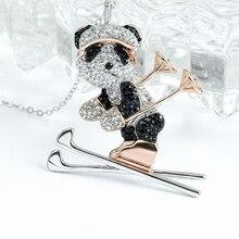 Super étoile style hipster argent collier populaire ski héros panda ours pendentif personnalité belle bibelot