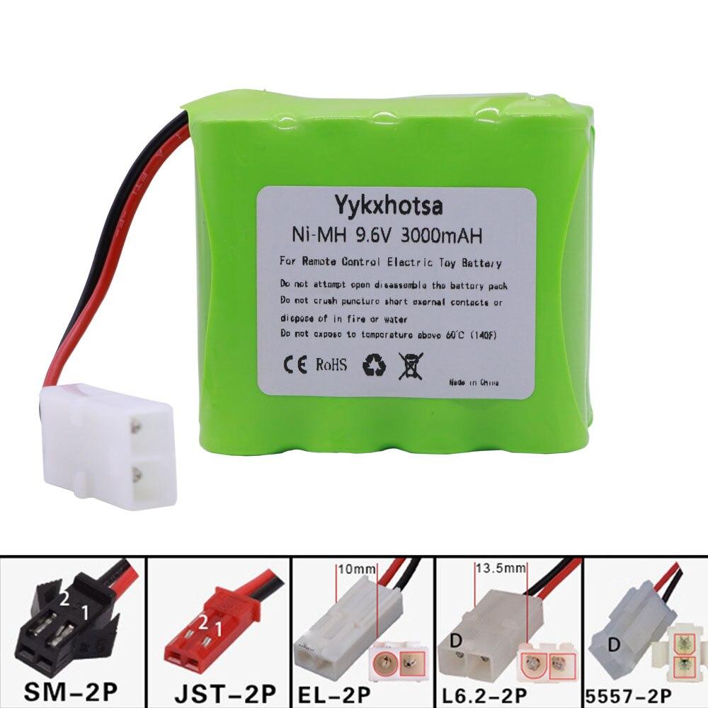9,6 V 3000mah Ni-MH batería L6.2-2P/SM/EL-2P/JST enchufe para juguetes Rc coches tanques trenes Robots barcos pistolas 9,6 V NI-MH batería X modelo