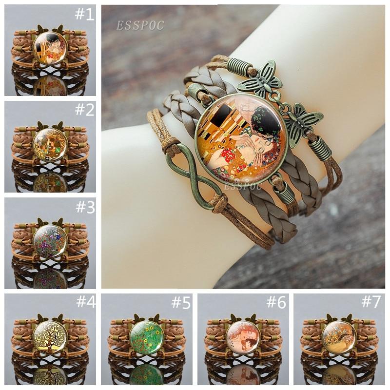 Retro Adjustable Leather Charm Bracelets Gustav Klimt The Kiss Bracelet Handmade  Klimt Art Jewelry