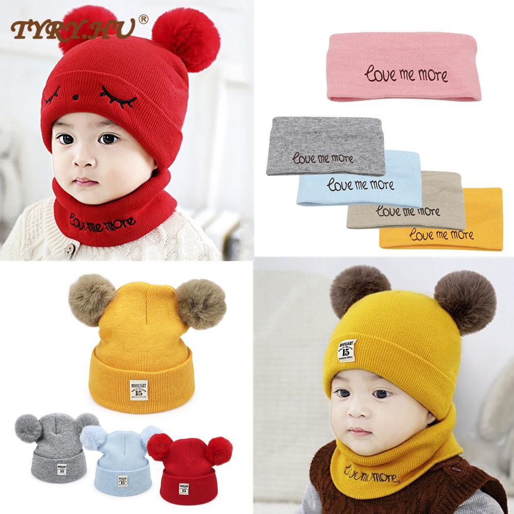 1set Toddler Hat +Twitter Pompon Winter Children Hat Bonnet Enfant Knitted Cute Cap For Girls Boys 0-24 Months