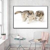Toile de peinture a lhuile danimaux  chien neige  decoration murale de bureau  salon  couloir  maison