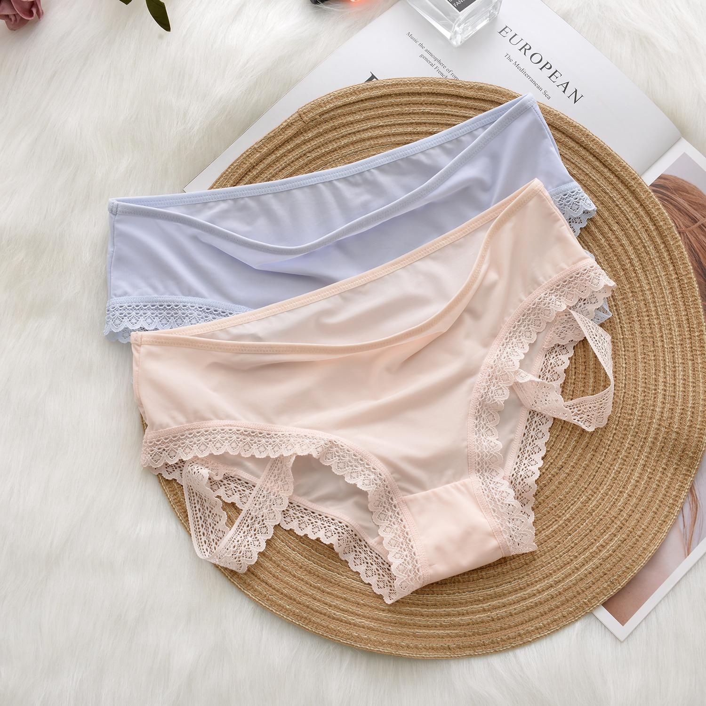 Ice Silk Panties Lace up Sweet Lace Straps Ladies Panties Personal Underwear Ladies Briefs Summer Ultra-thin Women Underwear