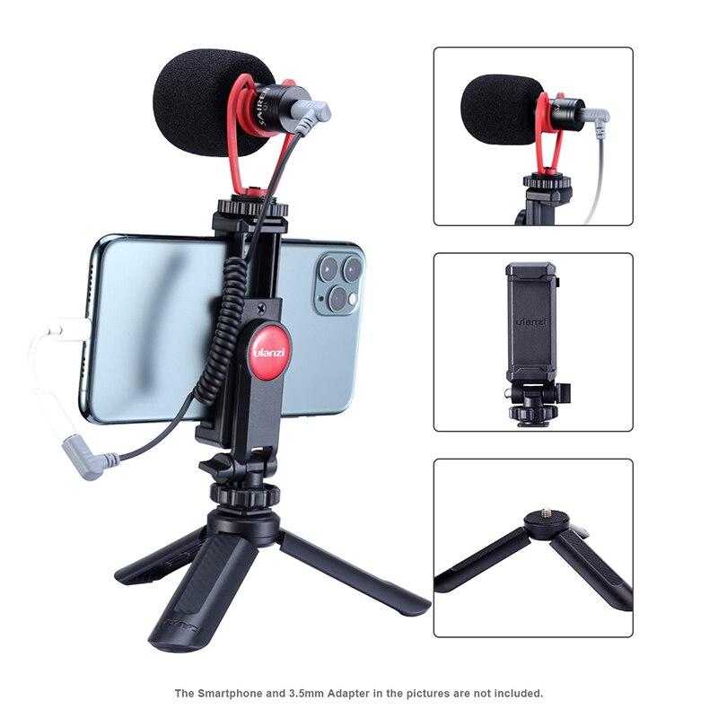 Ulanzi registro micrófono trípode Vlog Mini Kit de trípode Disparo Vertical teléfono Kit de montaje de 3,5 MM Jack de Audio y Video micrófono