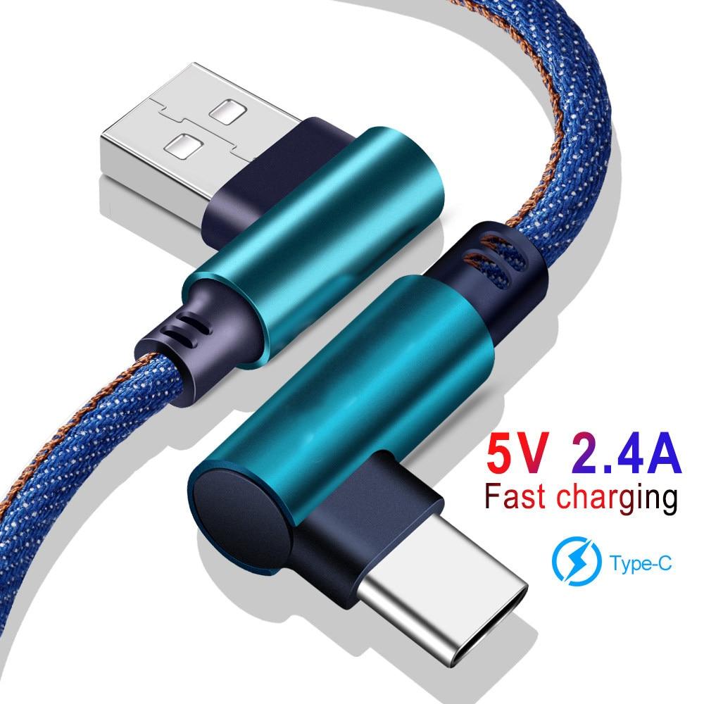 المصغّر USB نوع C كابل 2.4A شاحن سريع سلك USB 90 درجة الكوع نايلون مضفر البيانات كابل للأندرويد الهاتف