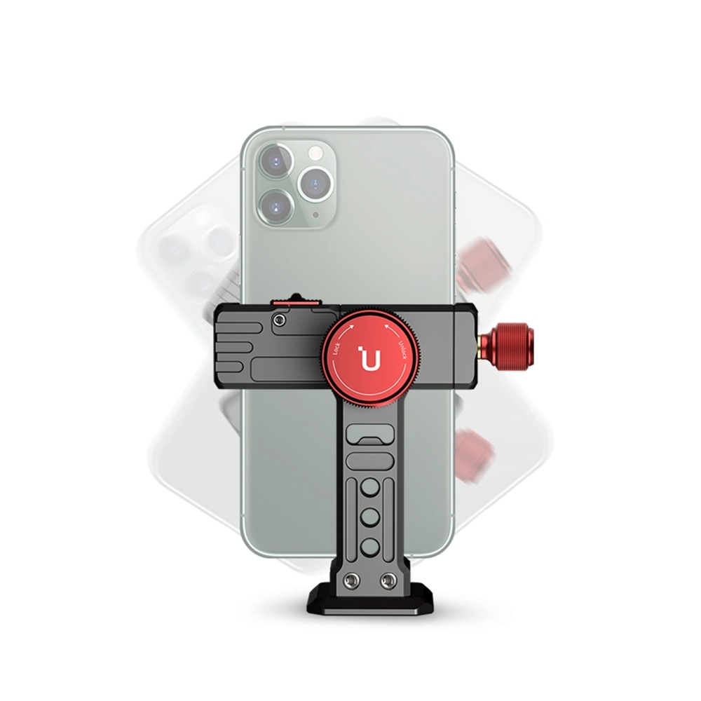Ulanzi ST-14 الرجل الحديدي III المعادن الهاتف الذكي جبل حامل للهواتف الذكية مع الباردة حذاء ترايبود جبل ل ميكروفون LED ضوء Vlog