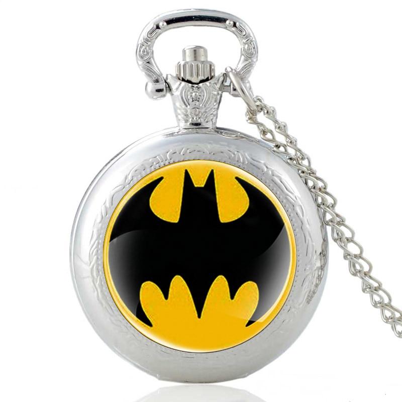 Классические модные кварцевые карманные часы со стеклянным кабошоном и символом «летучая мышь», винтажные мужские и женские часы с подвеск...