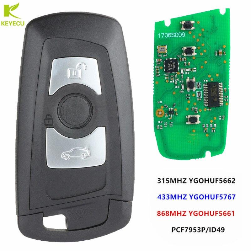Keyecu Smart Remote Key 3 Knoppen Voor Bmw F Chass 5 7 Serie Fem/Bdc CAS4 CAS4 + 315 mhz YGOHUF5662, 434 Mhz HUF5767, 868 Mhz HUF5661