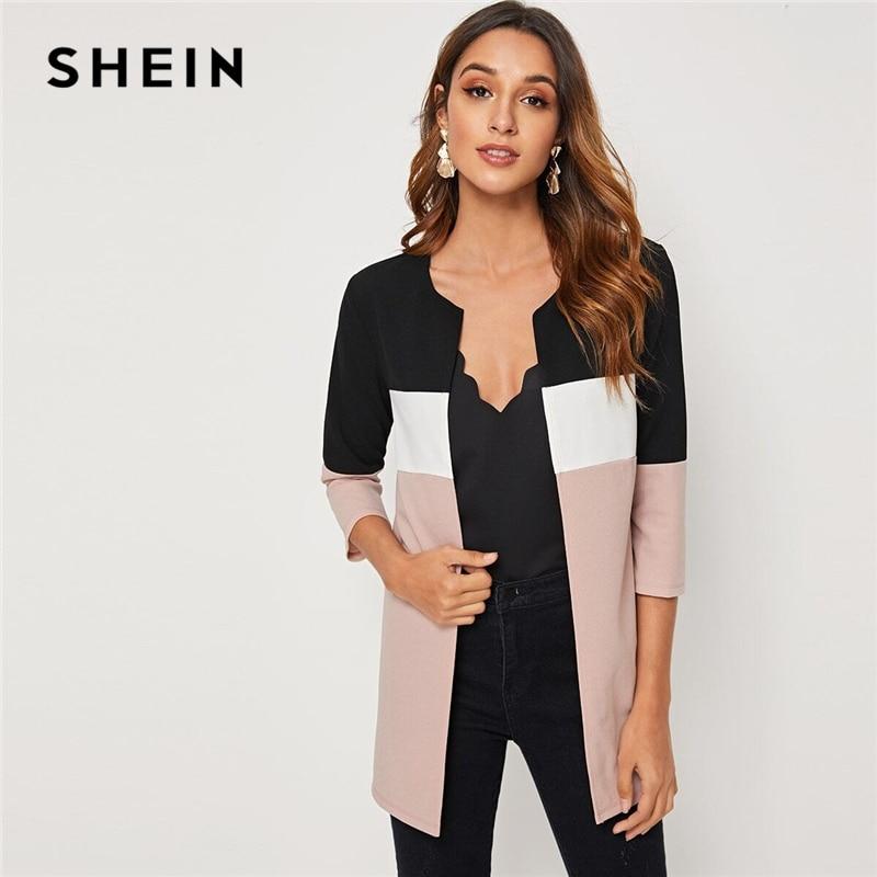 Модное женское пальто SHEIN с круглым вырезом и вырезом спереди, 2019, осень 3/4, длина рукава, Женская Повседневная Верхняя одежда, пальто