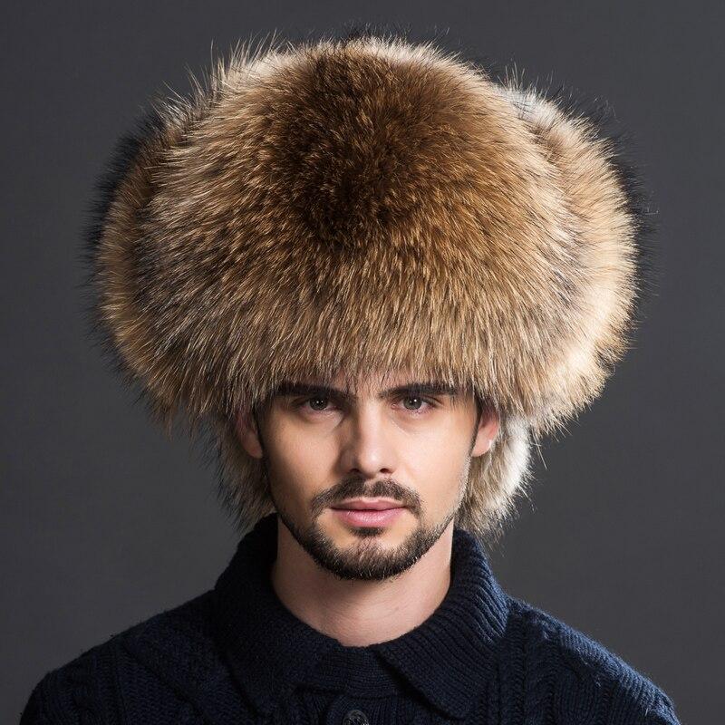 Winter Men's 100% Real Silver Fox Fur Aviator Bomber Hat Raccoon Fur Ushanka Cap Trapper Russian M