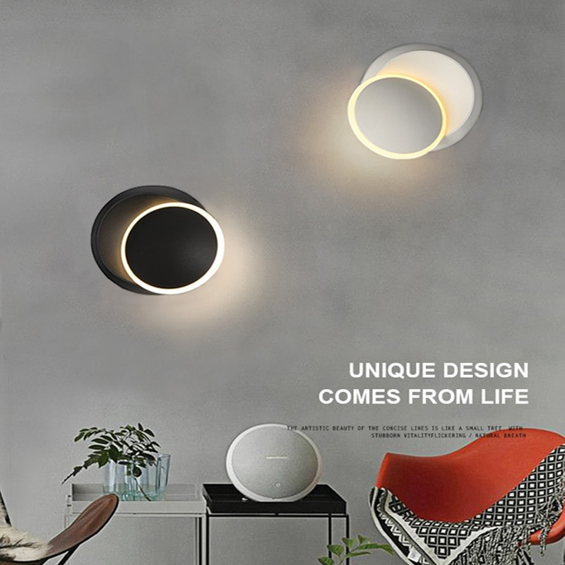 2021 مصباح جداري LED ، مصباح بجانب السرير قابل للتعديل ، دوران 360 درجة ، مصباح حائط إبداعي ، أسود وأبيض ، مصباح حائط حديث للممر