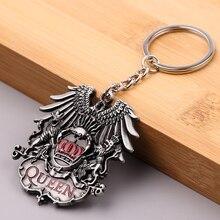 Men British Rock Band Queen Keychain Punk Antique  Key Ring Holder Car Bag Chaveiro Key Chain Pendant Jewelry