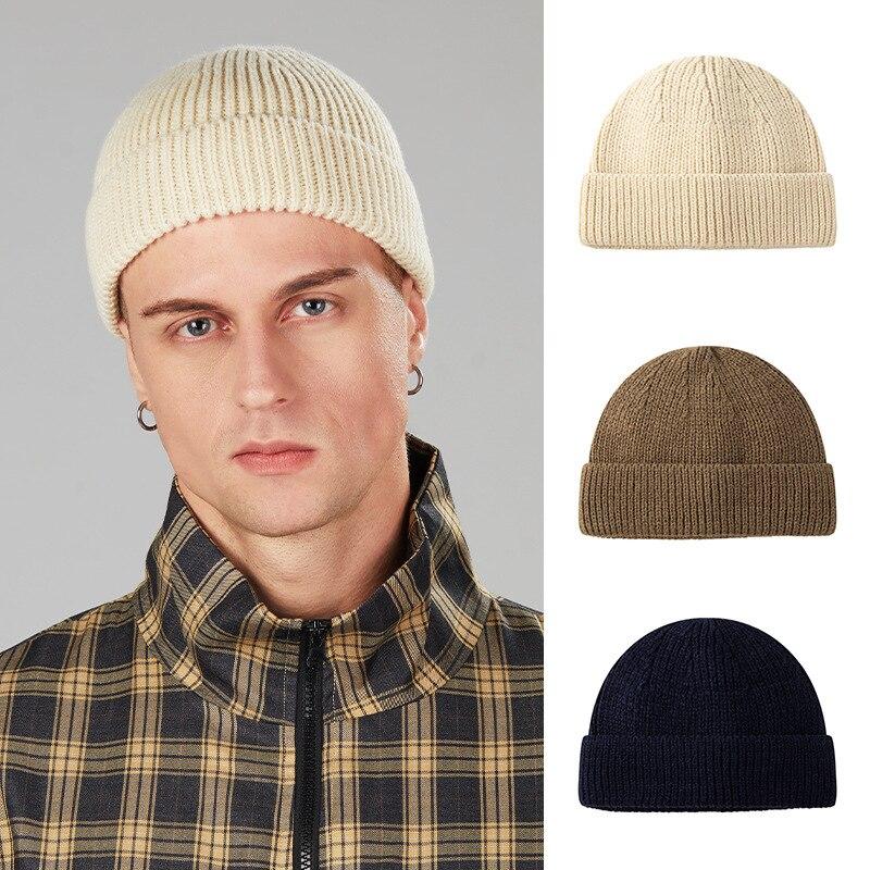 Зимняя теплая шапка, новая однотонная вязаная шапка для улицы, Мужская модная короткая шапка, шапка для девочек