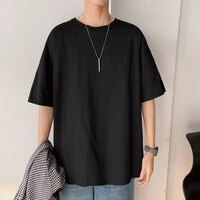 short sleeve black white loose t shirt mens 2021 summer classic solid tshirt top tees casual clothes plus oversize m 5xl o neck
