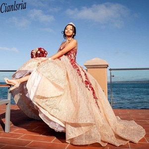 Rose Gold Quinceanera Dress 2021 Ball Sweetheart Appliques Beads Sequins Party Princess Sweet 16 Gown Vestidos De 15 Años