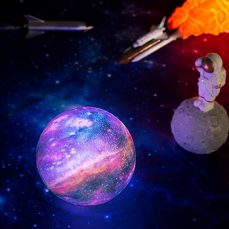 2019 nova dropship 3d impressão galáxia lâmpada como a lua lâmpada melhor luzes de natal luz da noite na sala estrela luz da lua decoração