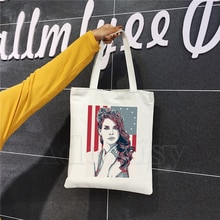 Lana Del Rey Fashion Canvas Bag Women Girls Simple Large Capacity Storage Handbag Shoulder Bag Tote Reusable Student Bookbag