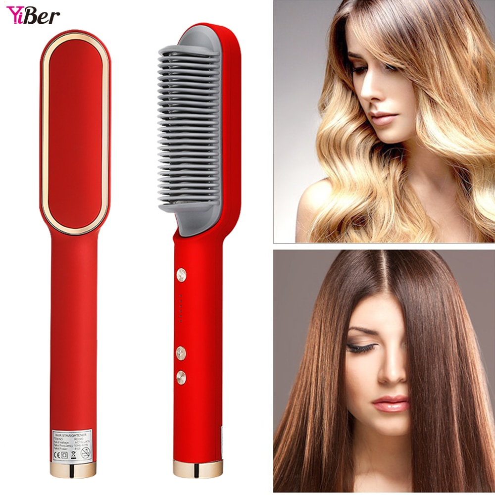 Electric Negative Ion Hair Straightening Comb 2 In 1 Not Hurt Hair One Step Curler Straightener Styl