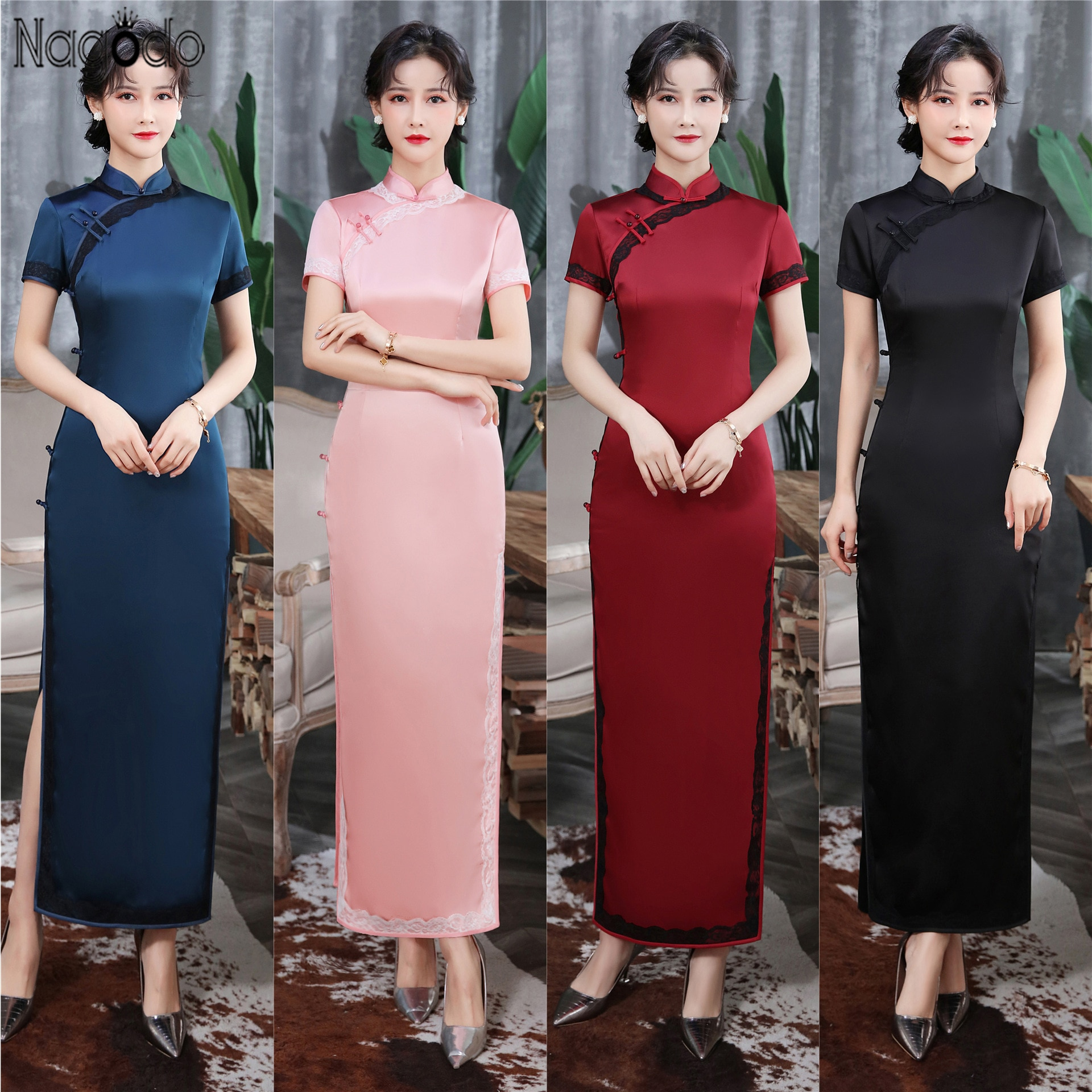 Nagodo Chinese Evening Dress 2020 Retro Modified Short Sleeve Silk Chinese Dress Women Cheongsam Plus Size Slim Long Qipao Dress