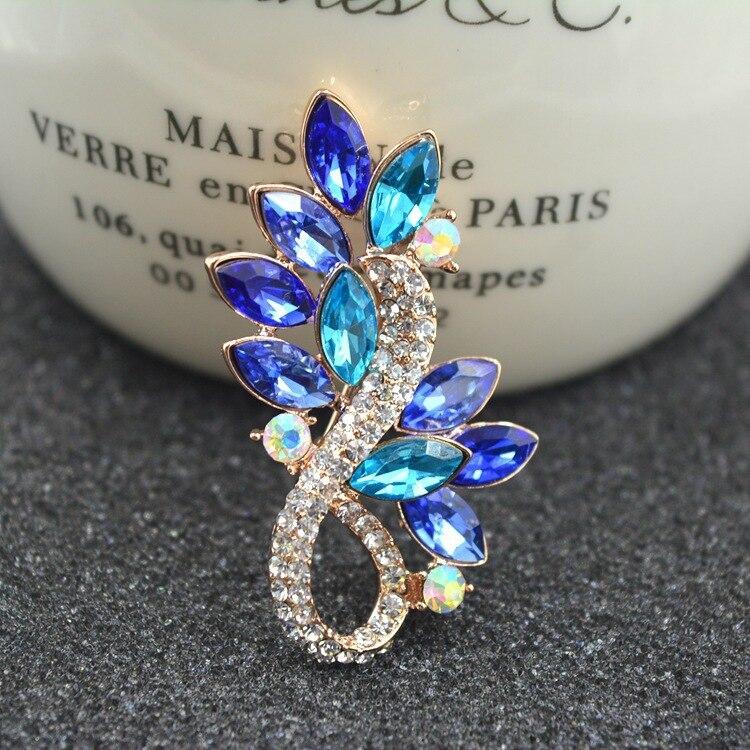 UXN396 925 Sterling Silber Blau Kristall mit zirkon Brosche frauen Mode Pin anzug zubehör