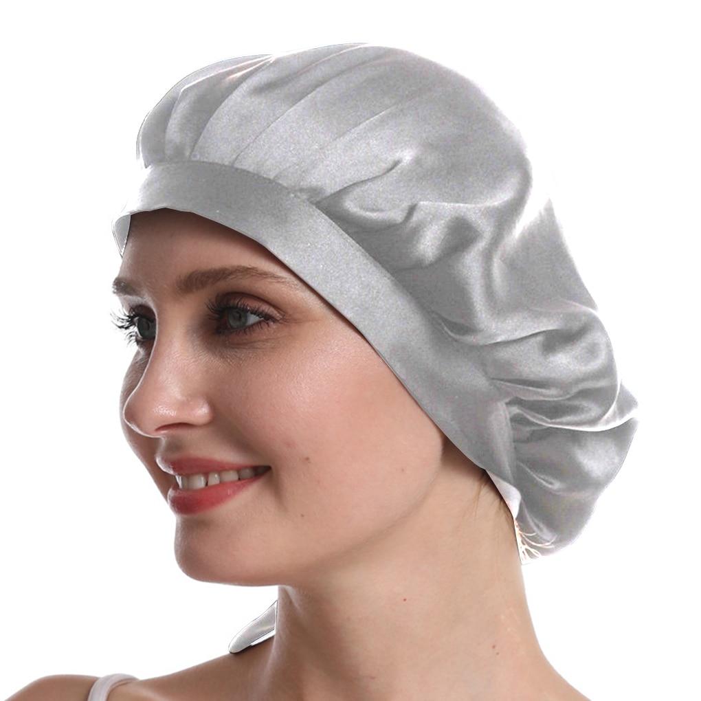 Mulberry Silk Nightcap Sleeping Cap Pure Silk Hair Wrap Adjustable Elastic Band Sleeping Beanie